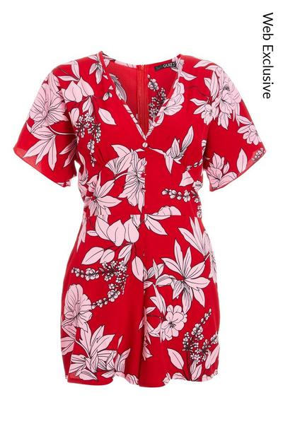 Red And Pink Button Front Floral Playsuit